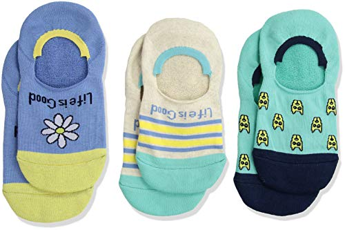 Life is Good Big Girls 3-Pack Invisible No Show Socks, Large (Fits Shoe Size 13-4), Daisy/Rocket Turquoise