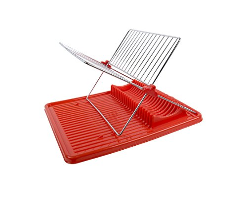 Luciano, Folding Dish Rack with Drain Board, 15.5 inches, Re