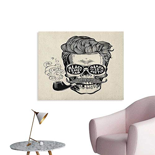 Anzhutwelve Indie Corridor/Indoor/Living Room Hipster Gentleman Skull with Mustache Pipe and Eyeglasses with Inscription Vintage Cool Poster Black Cream W28 ()