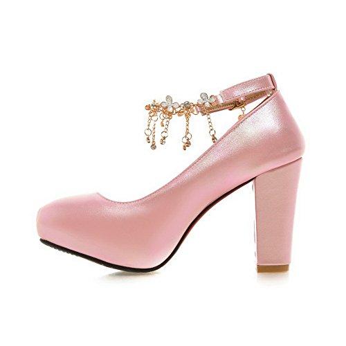 Balamasa Ragazze Catena In Metallo Vetro Diamante Ricamato Scarpe In Pelle Imitato Rosa-scarpe