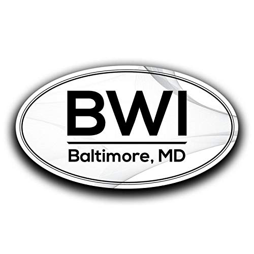 BWI Baltimore Maryland Airport Code Decal Sticker Home Travel Car Truck Van Bumper Window Laptop Cup Wall - Two 5.5 Inch Decals - MKS0550 ()