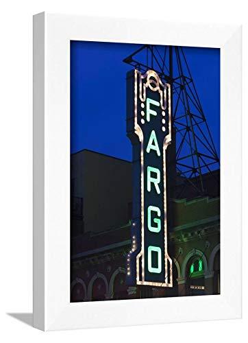 ArtEdge Theater Sign, Fargo, North Dakota, USA by Walter Bibikow, Wall Art Framed Print, 12x8, White ()