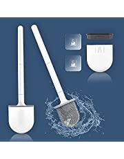 Silicone Toilet Brush and Holder Set Mounted Silicone Toilet Bowl Brush Deep Cleaning Non-Slip Long Plastic Handle Bendable Brush Head Clean Toilet Corner Easily Silicon Brush
