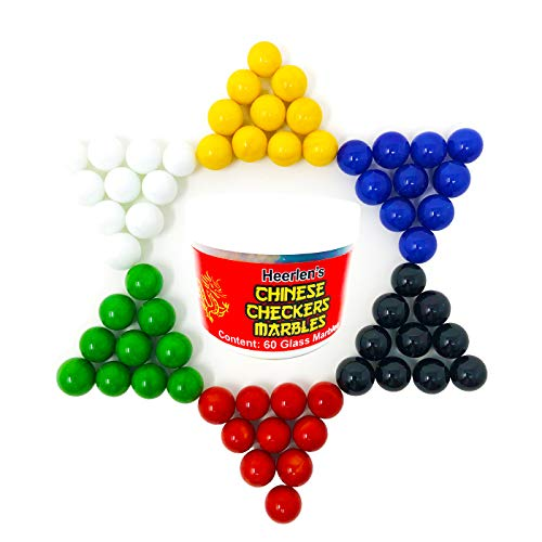 Heerlen Chinese Checkers Glass Marbles. Set of 60, 10 of Each Color. Size 9/16