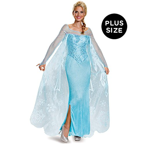 [Disney Women's Elsa Prestige Adult Costume, Blue, X-Large] (Elsa Dress Women)