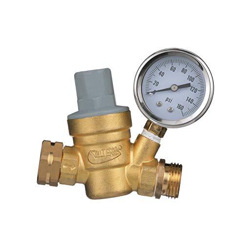 Valterra RV Water Regulator, Lead-Free Brass Adjustable Water Regulator with Pressure Gauge for C…