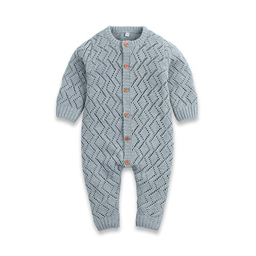 Ziyunlong Baby Knit Sweater Romper Newborn Long Sleeve Breathable Jumpsuit One Piece Overall Infant Baby Winter Clothes(12-18M,Grey) ()