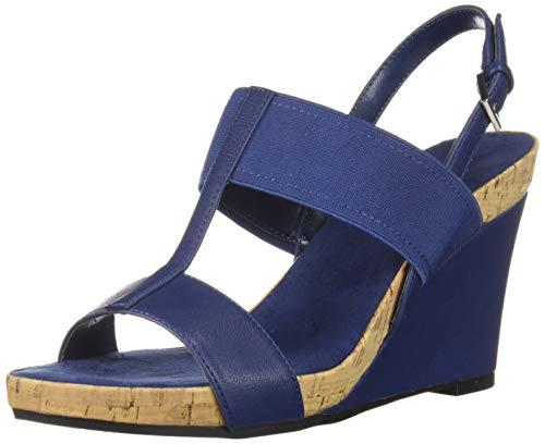 Aerosoles Women's Plush Behind Wedge Sandal, Blue, 7 M US