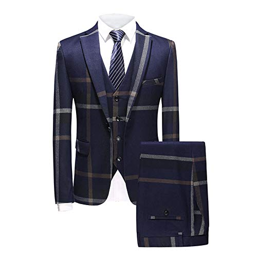 MAGE MALE Men's Plaid Suit Slim Fit 3-Piece Suit One Button Blazer Dress Business Wedding Party Jacket Vest & Pants Blue ()