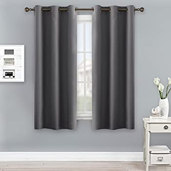 Grey Blackout Curtains For Bedroom   NICETOWN Thermal Insulated Grommet  Blackout Panel Curtains (2 Panels