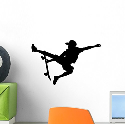 Wallmonkeys Skateboarding Sport Wall Decal by Peel and Stick Graphic (12 in W x 9 in H) WM288612 (Surface Archival Backing Board)