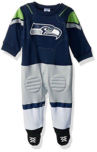 Seattle Seahawks Toddler Size 3-6 Months Football Player Uniform Footed Pajamas - Team Colors
