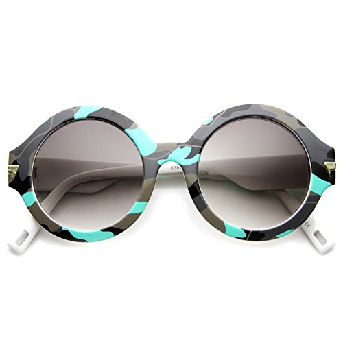 zeroUV - Bold Horn Rimmed Camo Print Frame Metal Arm Accent Round Sunglasses 49mm (Neon Blue-Camo / - Printed Neon Sunglasses