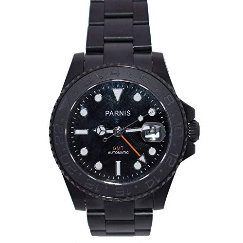 Parnis 40mm Black Dial Ceramic Bezel GMT Function Automatic Movement Men's Watch PVD Coated Case Sapphire