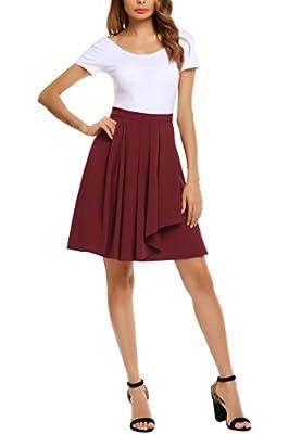 Zeagoo Women's High Waist A-line Pleated Skirt Midi Long Flare Skirt M-XL