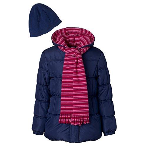 Pink Platinum Girls Puffer Jacket Set with Hat & Scarf – Stripe Print Jacket Hat Set Girl