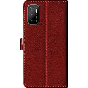 SBMS Poco Pu Leather Flip Cover Wallet Case Cover for (Poco M3 Pro 5G, Brown)