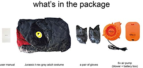 GOPRIME Jurassic T-rex Adult Sized Halloween Party Cosplay Fancy Inflatable Costume (Grey) by GOPRIME (Image #6)