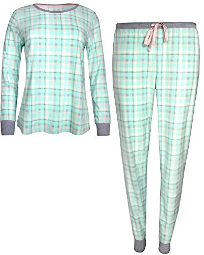 (Pillow Talk Womans 2-Piece Velour Jogger Pajama Set, Blue Plaid, Medium')