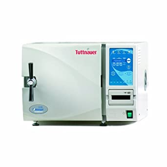 """Heidolph Tuttnauer 2340E Autoclave Sterilizer Electronic Model with 3 Stainless Steel Trays, 9"""" Diameter Chamber, 120V"""