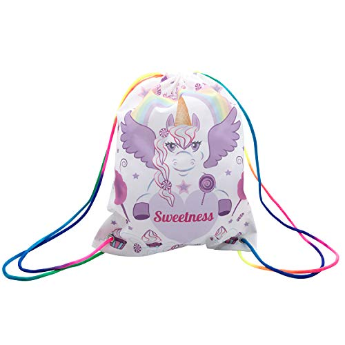 CandyJane Sweetness The Unicorn Drawstring Party Bags- 3-Pack Rainbow Strap Backpacks-Perfect Birthday Party Favors Halloween Trick-Or-Treat Bags- Girls, Baby, Kids- Must-Have Party Supplies -