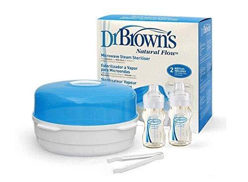 Dr Brown's Mikrowellen-Sterilisator - inklusive 2 Babyflaschen (270ml) Dr Browns DRB801 15070