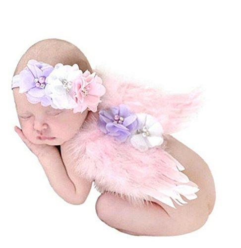 Angels Mesh Costumes (PGXT Feather Angel Wings Rhinestone Headband Set Baby Chiffon Flower Headband Hair Accessories Newborn Photo Prop Costume)