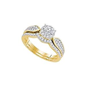 14k Yellow Gold Womens Princess Diamond Bridal Wedding Engagement Ring Band Set 3/4 Cttw