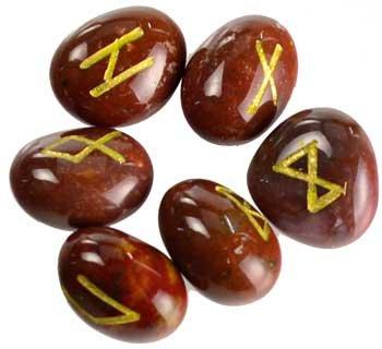 Fortune Telling Toys Rune Stone Sets Elder Futhark with Single Blank Divination Red Jasper Gemstones