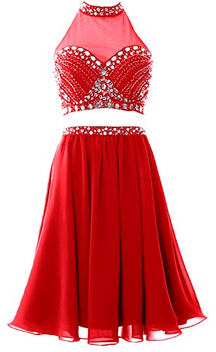 MACloth Women 2 Piece Prom Homecoming Dress Short Chiffon Cocktail Party Gown Rojo