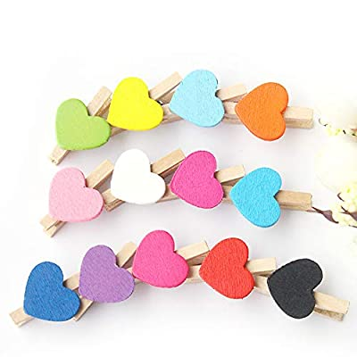 meiyuan 50pcs Mixed Color Heart Wooden Mini Pegs Photo Clips for DIY Art Craft Supplies Mixed Color : Garden & Outdoor
