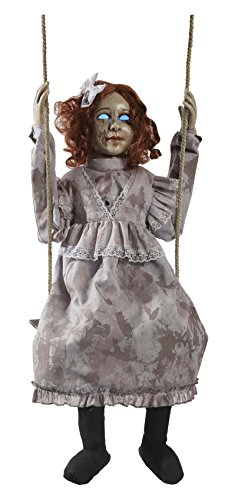 HALLOWEEN ANIMATED SWINGING DECREPIT DOLL GIRL PROP DECORATION -Doll is 30 inches tall]()