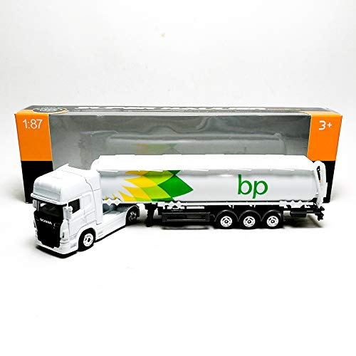 Welly 1:87 Die-cast Scania V8 R730 BP Oil Tanker Truck White Model with Box Collection Christmas New - Tanker Oil Metal