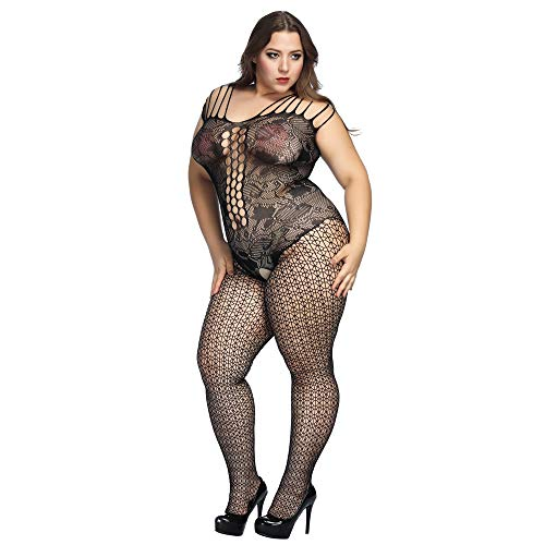 4898f661e3c7f Galleon - Deksias Fishnet Bodystocking Plus Size Crotchless Bodysuit  Lingerie For Women (Plus+