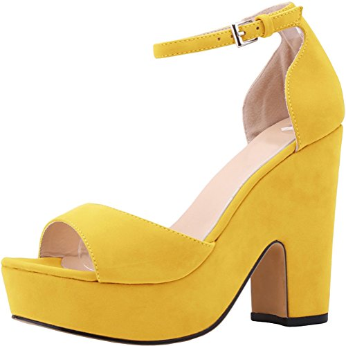 Salabobo Womens Sexy Fashion Night Club Party Platform Heighten Block Heel Wedges Cloth Sandal Yellow ubYmTDx
