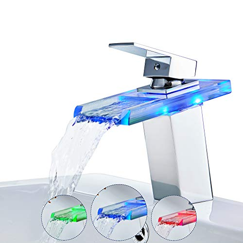 ROVATE Bathroom Sink LED Glass Faucet, RBG 3 Colors Changing Light Waterfall Spout Single Hand Single Hole Mixe Tap/Faucet Deck Mount on Sink, Polished Chrome