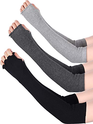 Bememo 3 Pairs Arm Warmers Winter Long Fingerless Gloves Knit Wrist Warmers with Thumb Hole for Women Girls (Color Set 10) (Gloves Fingerless Warmers Arm)