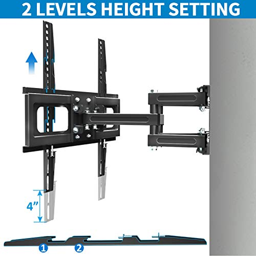 Full Motion TV Mount with Height Setting FOZIMOA TV Wall Mount for Most 32-65 inch LED LCD Plasma Flat Screen Articulating Swivel Tilt Extension TV Bracket up to 88lbs Loading Max VESA 400x400mm