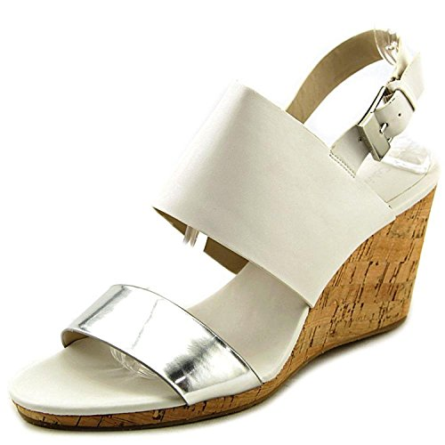 Calvin Klein Womens Bibbi Open Toe Ankle Strap Wedge, Silver White, Size 6.0
