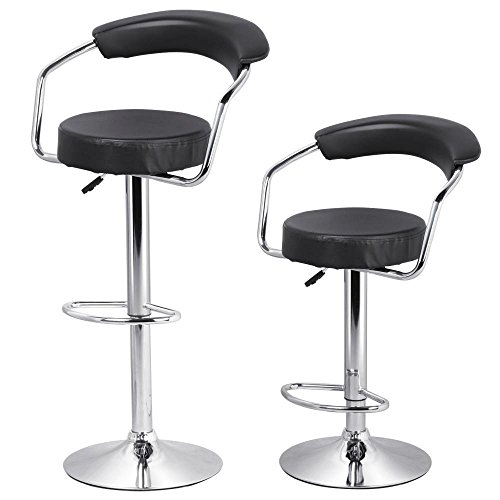 Yaheetech Adjustable Modern Counter Height Black Leather Swivel Bar Stools 42 Inches with Back and Arms for Kitchen Home Bar Furniture Set of 2