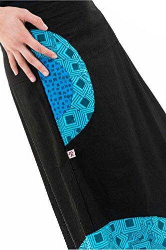 Noir squar Jupe Ethnique Longue Blue Original HrXwXITx