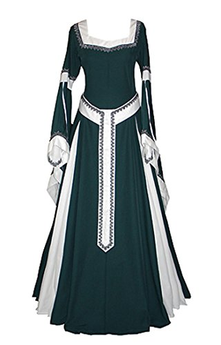 Medieval Plus Size Costumes (Womens Medieval Dress Renaissance Costumes Irish Over Long Dress Cosplay Retro Gown)
