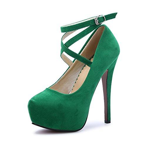 OCHENTA Femme Escarpins Bride Cheville Sexy Talon Aiguille Plateforme Epais Fermeture Lacets Chaussures Club Soiree Vert 43 EU
