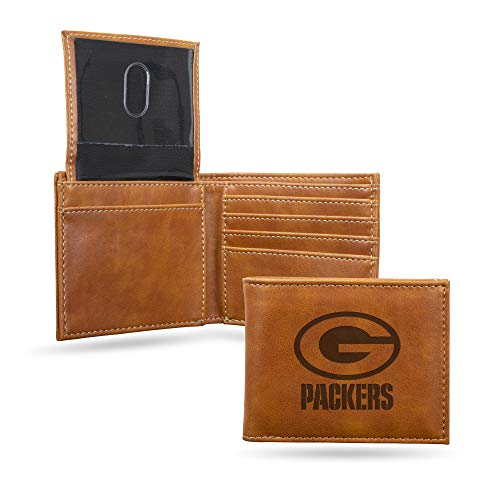 Rico Industries NFL Green Bay Packers Laser Engraved Billfold Wallet, Brown