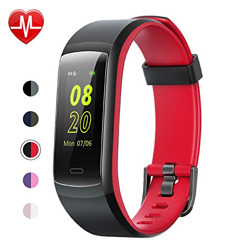 (YAMAY Fitness Tracker, Fitness Watch Heart Rate Monitor Activity Tracker,Color Screen Dual-Color Bands IP68 Waterproof,with Step Counter Sleep Monitor 14 Sports Tracking for Women Men Kid (Black-Red))