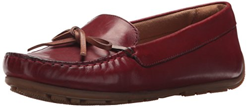 CLARKS Women's Dameo Swing Driving Style Loafer red Leather 8 Medium US