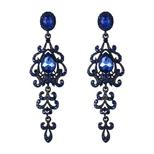 - BriLove Wedding Bridal Dangle Earrings for Women Victorian Style Crystal Teardrop Chandelier Earrings Sapphire Color Black-Tone