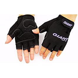 JERN Cycling/Biking Half Finger Shock Absorption Sports Gloves (Black)(L)