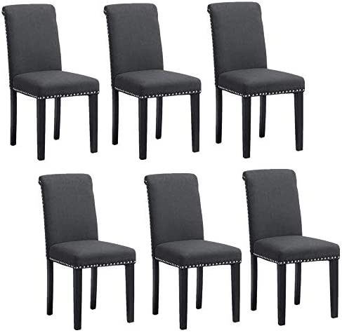 HomeSailing Contemporary Kitchen Dining Chairs Only Set of 6 Charcoal Grey Fabric Upholstered Seat Armless Chairs Comfy