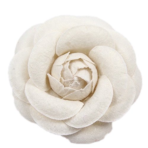 MISASHA Celebrity Designer Fabric Light Beige Camellia Flower Pin Brooch